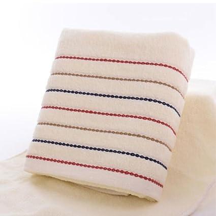 Wddwarmhome toalla de baño blanco rayado suave algodón toalla de baño Hotel hombres y mujeres par
