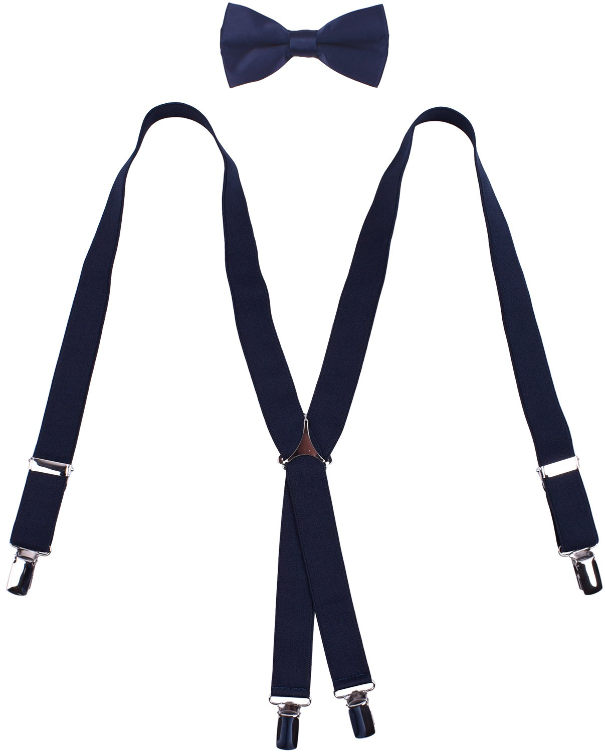 WDSKY Mens Bow Tie and Suspenders Set Classic X Back Navy Blue