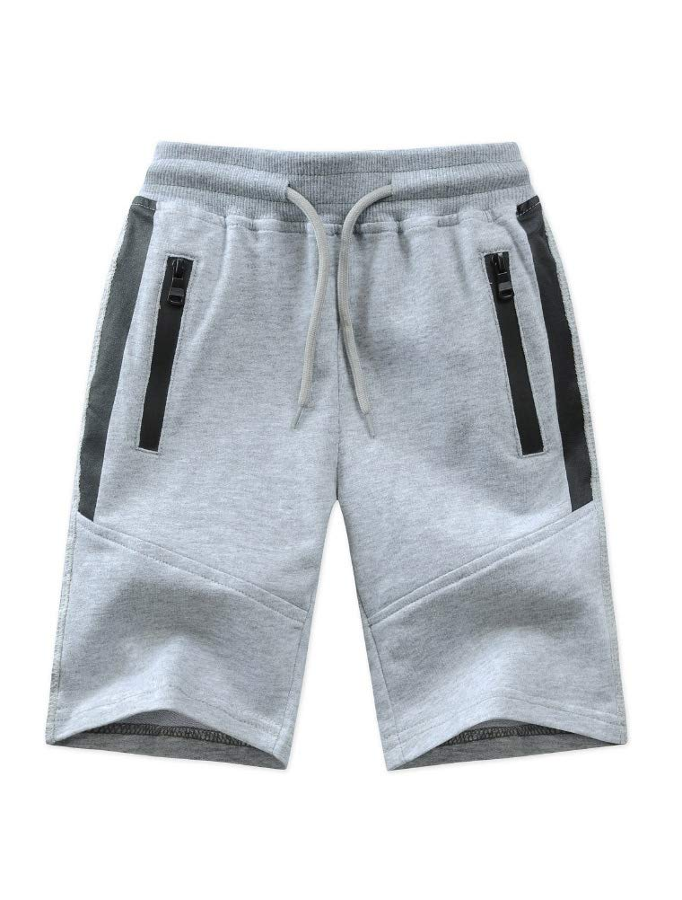 Mallimoda Boy's Knit Cotton Sweatpants Casual Sport Drawstring Waist Trousers Short Style 1 Grey 11-12 Years