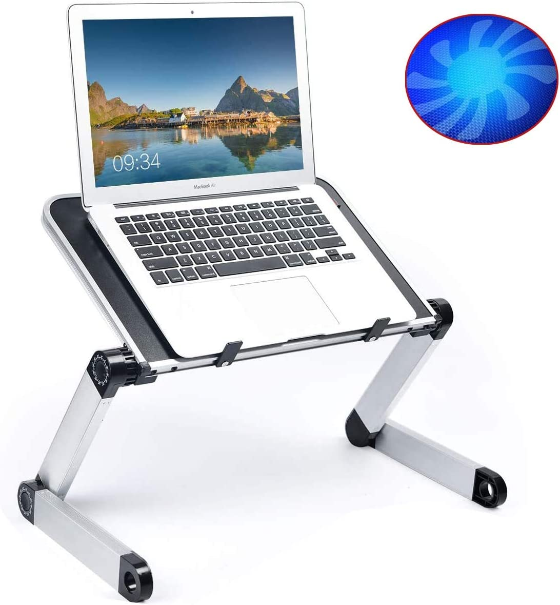 "Adjustable Laptop Stand Bed Desk 16"" Laptop Stand for Bed Couch Sofa Foldable Laptop Table Portable with Cooling & Fan Lightweight Portable Bed Sofa Couch Lap Tray"