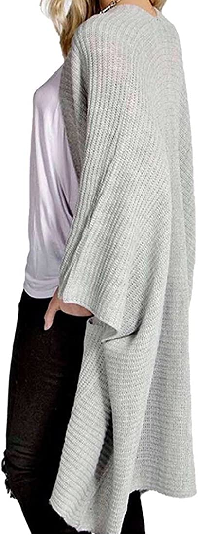 Crazy Girls Womens Chunky Knitted Baggy Oversized Pocket Long Jumpers Cardigans Cape