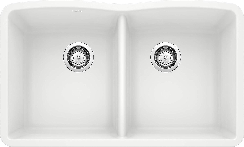 Blanco 440185 SILGRANIT Double Bowl Undermount, White Kitchen Sink, 39.00 x 27.00 x 16.00 inches