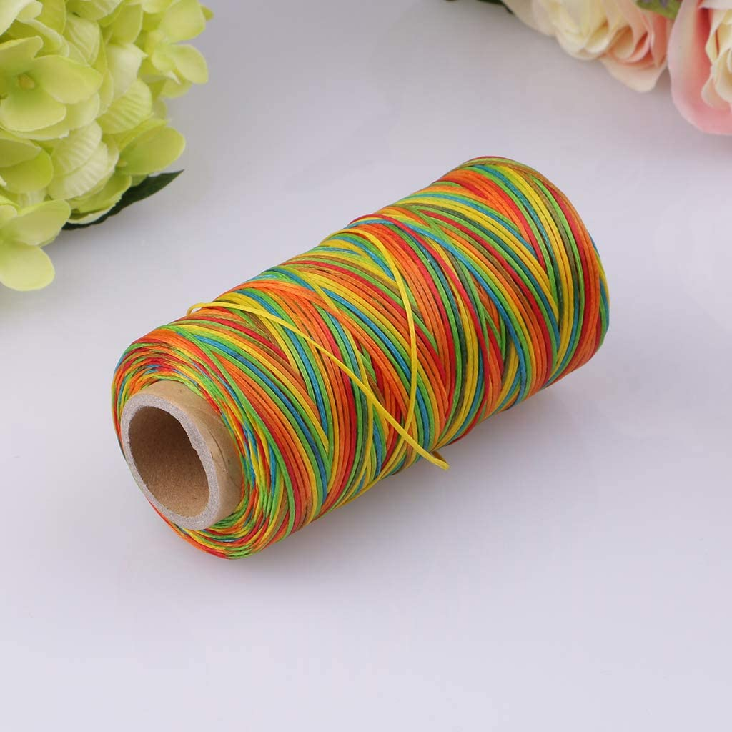 1 Spool 260 Meters 150D 0.8mm Flat Polyester Waxed Thread Sewing Stitching Leather Crafts Beige