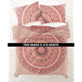 KD CRAFTS NEW Full Indian Medallion Queen Size Cotton Doona Duvet Cover Set Hippie Bohemian Mandala Blanket Quilt Cover Bedspread Bedding Comforter Cover With Pillow Covers
