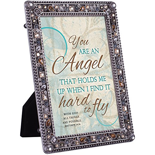 Cottage Garden You Are An Angel Matthew 19:26 Jeweled Pewter Colored 5 x 7 Easel Back Photo Frame - Pewter Angel Photo Frame