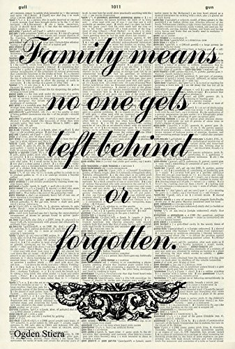 Family Means No One Gets Left Behind Or Forgotten Art Print - FAMILY ART PRINT - INSPIRATIONAL QUOTE - LILO & STITCH - QUOTE PRINT - LITERATURE ART PRINT - Vintage Art Print - BOOK ART PRINT 691D