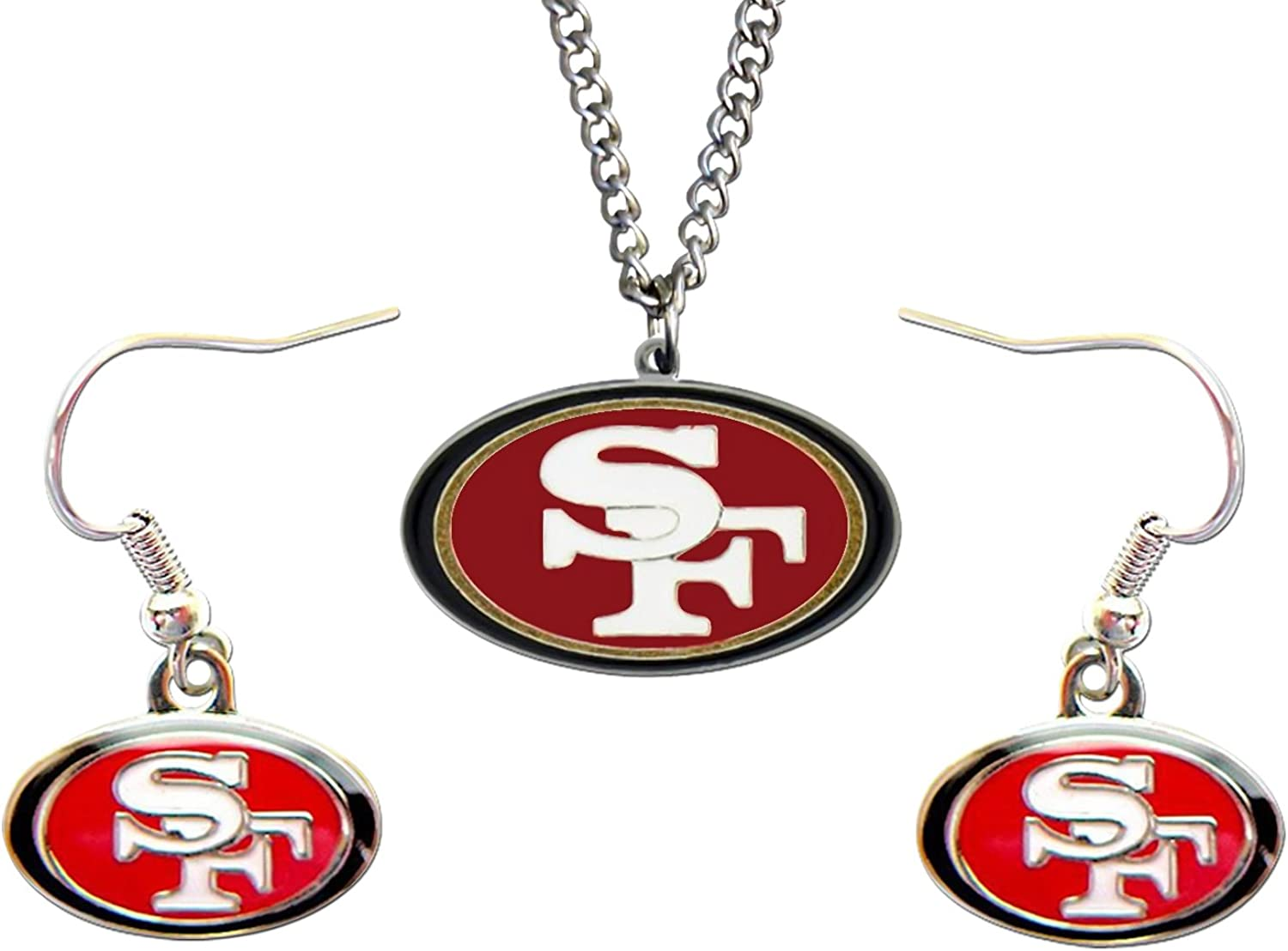 Sports Team SAN Francisco 49ers Necklace And Dangle Earring Set