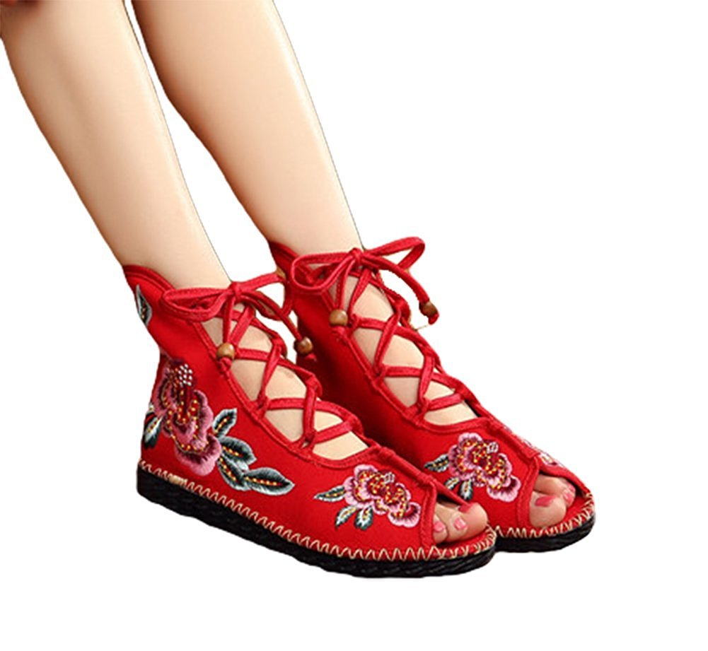 Kool Classic Women's Embroidery Open Toe Lace-up Gladiator Roman Flats Sandal B06XW71W7Y 36 M EU=6 B(M) US|Flower Red