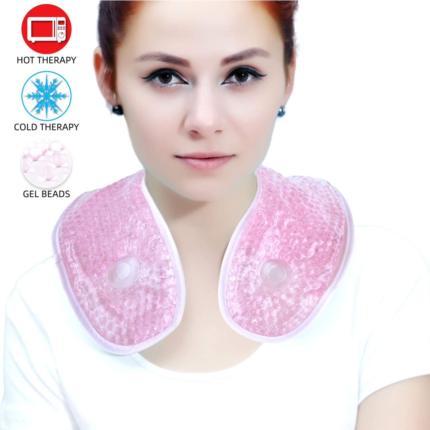Ice Packs for Neck Shoulder with Soft Plush Backing,Cooling Neck Wrap with Reusable Gel Beads, Hot/Cold Therapy Packs for Neck Pain Relief,Sore Shoulder and Stiff Muscles [Pink]