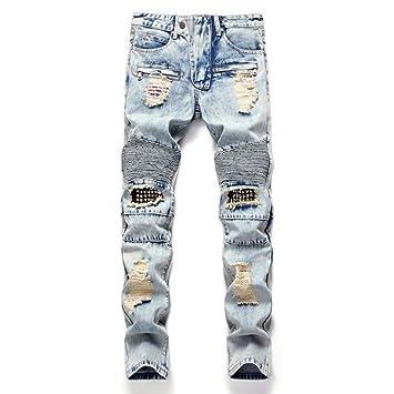 GZYD Jeans de Hombre Recto Pantalones de Media Altura ...
