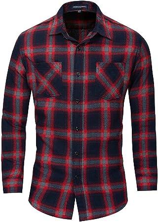 Susulv-MCL Camisa de los Hombres Camisa Vaquera de Manga Larga de algodón de Gran tamaño para Hombre Camisa a Cuadros Camisas Casuales (Color : Rojo, tamaño : Metro): Amazon.es: Hogar