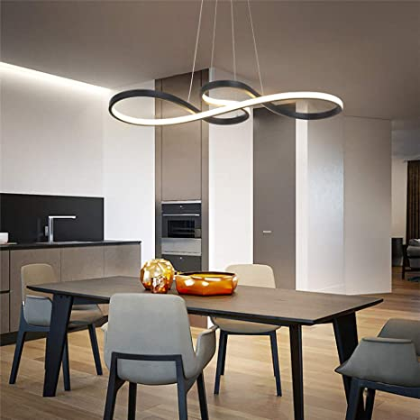 Modern LED Chandelier Acrylic Pendant Lighting Dimmable Kitchen Island Table Dining Room Fixture Remote, 29.52inch Adjustable Hanging Lamp Musical Note Metal Light For Contemporary Living Room (Black) - - Amazon.com