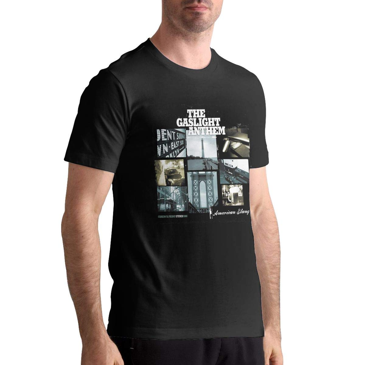 KennethCHaupt The Gaslight Anthem Man Cotton T Shirt Funny Pattern Short Sleeve Tee Black