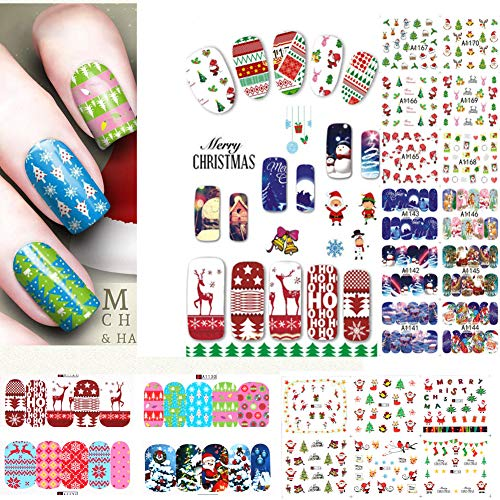 SIUSIO 48PCS Nail Decals Assortment Halloween Nail Stickers Manicure Nail Art Decals Decoration (Christmas) ()