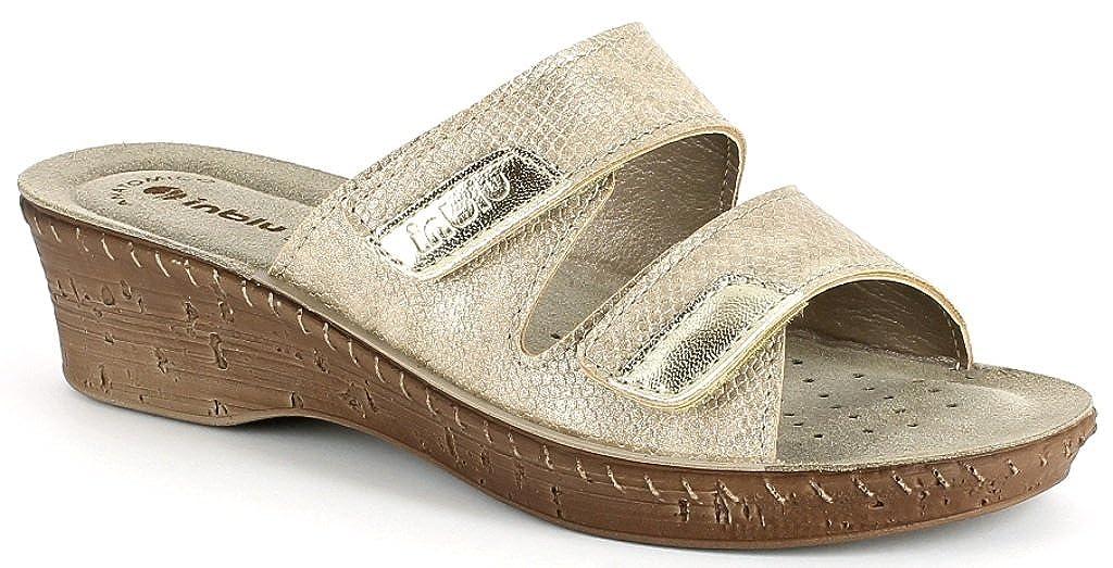 INBLU Ciabatte, Pantofole Donna Mod. 26-65 Doppio Velcro Platino Linea Benessere -