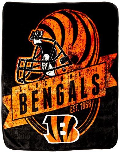 NFL Cincinnati Bengals Grand Stand Raschel Throw, 50 x 60-In