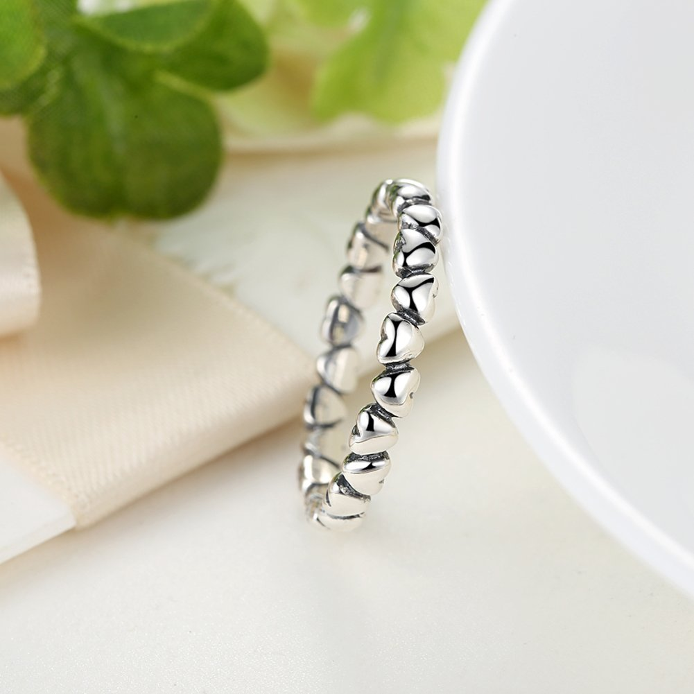 BAMOER 925 Sterling Silver Endless Love Heart Stacking Ring for Women Teen Girls Birthday Anniversary Gift Size 6-9 (7) by BAMOER (Image #5)