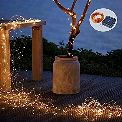 Solar String Lights, 2 Pack 100 LED Solar Fairy Lights 33 ft 8 Modes Copper Wire Lights Waterproof Outdoor String Lights for Garden Patio Gate Yard Party Wedding