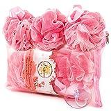 PUREAN Bath Sponge Gift Set - 3 Pink Loofah Sponges, a Reusable Zippered Bath Bag & Sponge Hanger - Gentle yet Effective Exfoliating Skin Care - Soft Mesh offers Rich Foam & Pleasant Massaging