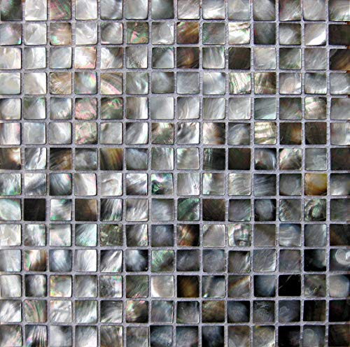 (GYD Mosaic,Black Seashell,Mother of Pearl Shell Mosaic Tile,Backsplash for Kitchen Tile,Bathroom Wall Tile (Pack of 6 Sheet) (with)