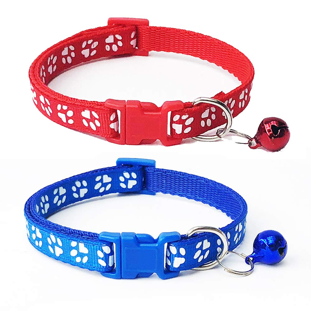 Potelin Cat Collar with Bell Safety Quick Release Break Away Buckle Adjustable Collar 2Pcs Red and Blue