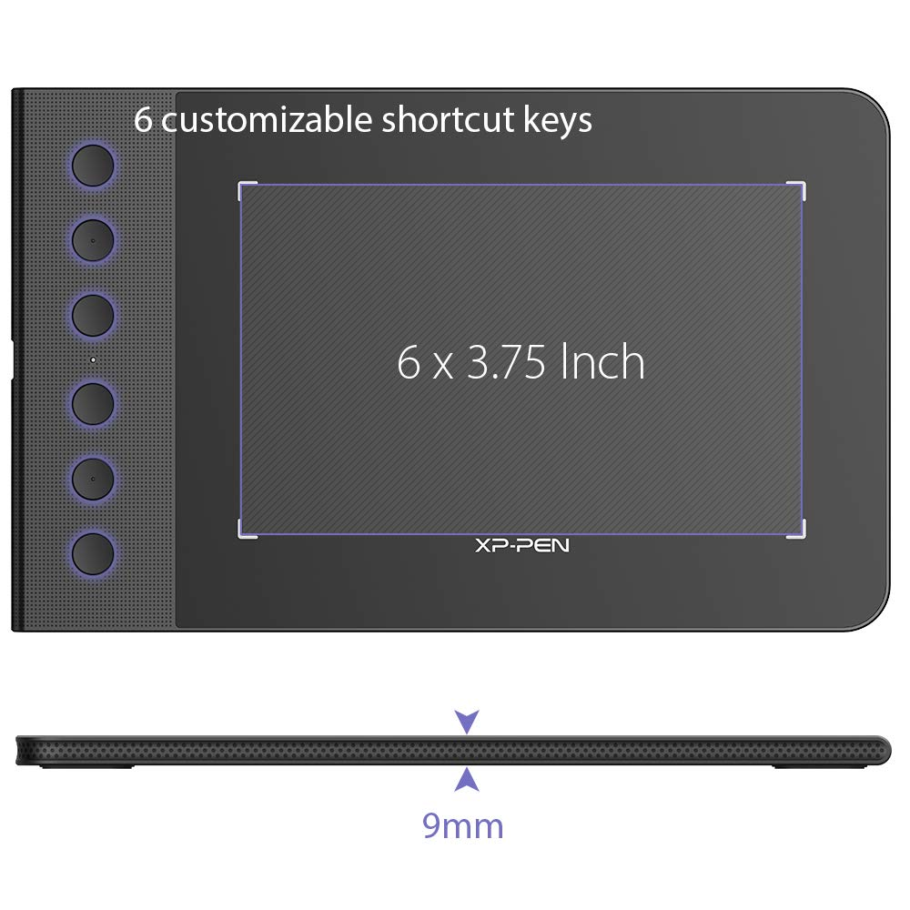XP-PEN G640S Android Drawing Tablet Graphic Pen Tablet for OSU! 8192 Levels  Pressure Digital Tablet with 6 Shortcut Keys and Battery-Free Stylus