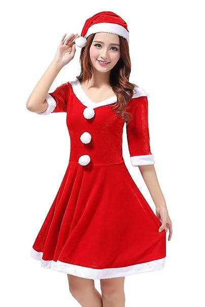 YOUJIA Natale Donne Costume da Babbo Natale Prestazione Abbigliamento  Cosplay del Vestito di ballo Feste e8c8e8f700a