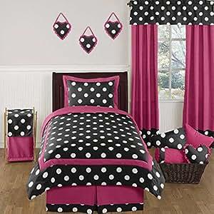 Amazon.com: Hot Pink, Black and White Polka Dot Childrens ...