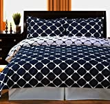 Extra Wide King Size Comforters Duvet Cover Set Oversize King/Cal King 100 Egyptian Cotton Navy Blue and White Modern Contemporary Geometric Pattern 3 Piece Reversible Bedding