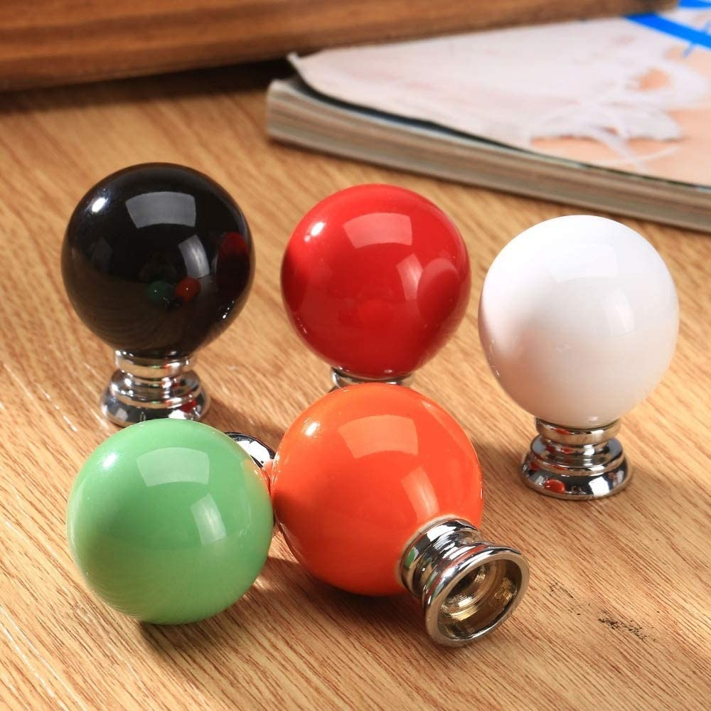 Color : White BOJI 1Pc Round Ceramic Furniture Knobs And Pulls For Cabinet Wardrobe Drawer Closet Cupboard Kitchen Handles Pull Furniture Fittings