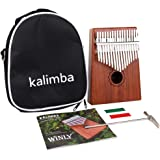 SODIAL Kalimba Thumb Piano 17 Keys with Mahogany Wooden with Bag, Hammer and Music Book, Perfect for Music Lover, Beginners, Children