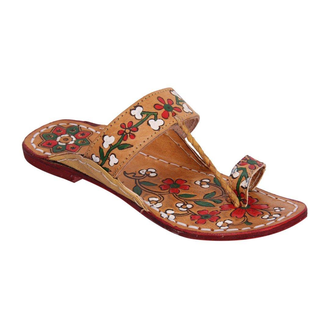 INDCROWN Hippie Indian Water Buffalo Jesus Sandle 100% Leather Kolhapuri Flat Flower Print Woman Sandle B07F79XKRP 10 B(M) US Red
