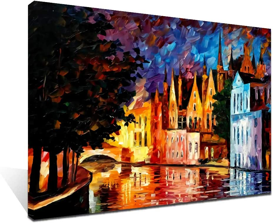 Amazon Com Ifine Art Nothern Venice Wall Art Framed Oil Paintings Printed On Canvas For Home Decorations Home Decor Modern Artwork Hanging For Living Room Bedroom Ready To Hang Posters