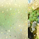 frosted glass gems - AILIYA Window Film Privacy 3D Color Gems Frosted Static Cling Opaque Glass Film Decorative Door Contact Paper Light Heat Blocking Window Sticker, 1 Roll, 17-3/4 by 78-3/4 inches