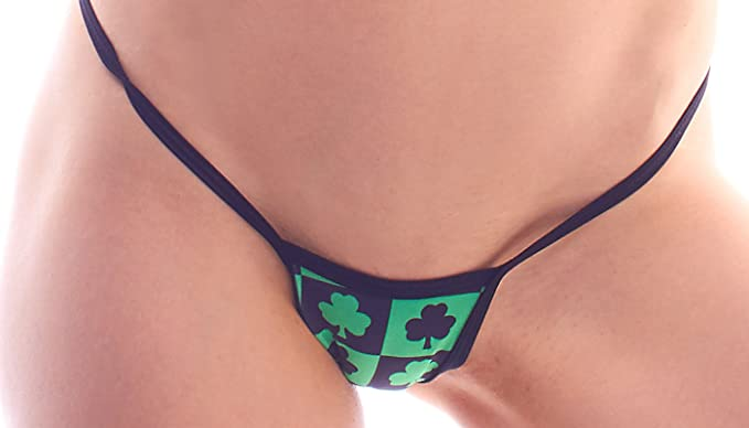 dd81b6342f0 Image Unavailable. Image not available for. Color  BODYZONE Women s Apparel  Lucky Collection Checkered Shamrocks Print Tiny Low Back Tee Thong Panty.