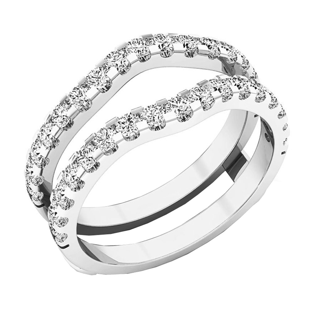 Dazzlingrock Collection 1.60 Carat (ctw) 10K Round White Cubic Zirconia Wedding Enhancer Double Ring, White Gold, Size 4 by Dazzlingrock Collection