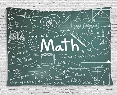Ambesonne Mathematics Classroom Decor Tapestry by, School Board Full of Drawings Formulas Shapes Theory Math Word, Wall Hanging for Bedroom Living Room Dorm, 60 W X 40 L Inches, Teal White ()
