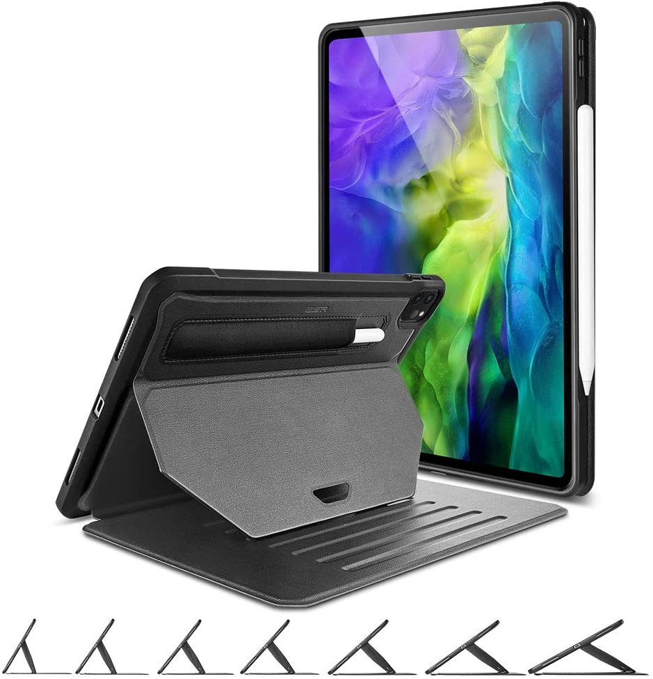 "ESR Sentry Stand Case for iPad Pro 11"" 2020 & 2018 [9 Convenient Stand Angles with Strong Magnet for Hanging] [Rugged Protective Cover with Pencil Holder] [Auto Sleep/Wake] – Black"