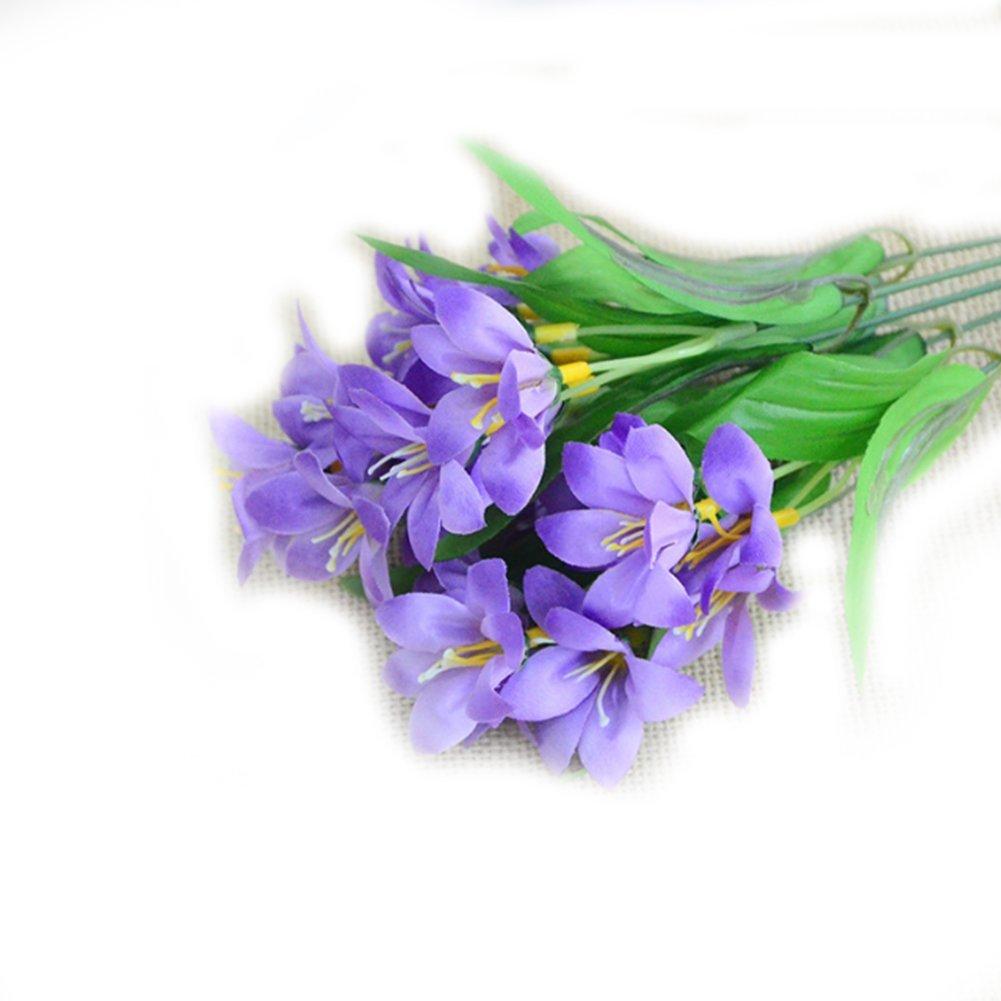Naisidier Herbe Artificielle Plantes artificielles Intérieur Extérieur Suspendus Planteur Maison Jardin Décoration Réel Toucher Fleur Artificielle 1 Bouquet Size Lis Rose 36cm (Lily Pink)
