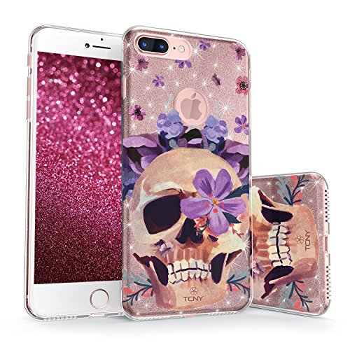 iPhone 7 Plus / iPhone 8 Plus Glitter Case, True Color Sparkase Sparkly Glittering Floral Skull Print Three-Layer Hybrid Girly Case with Shockproof TPU Outer Cover on Rose Gold Glitter (Floral True Case)