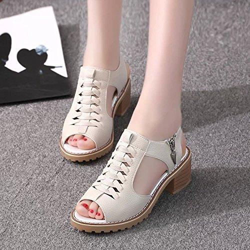 Rétro Sandales Chaussures Femme d'été Fond plat étanche Taiwan bœuf tendon inférieur Poisson Nez côté rétro sauvage, Beige 38