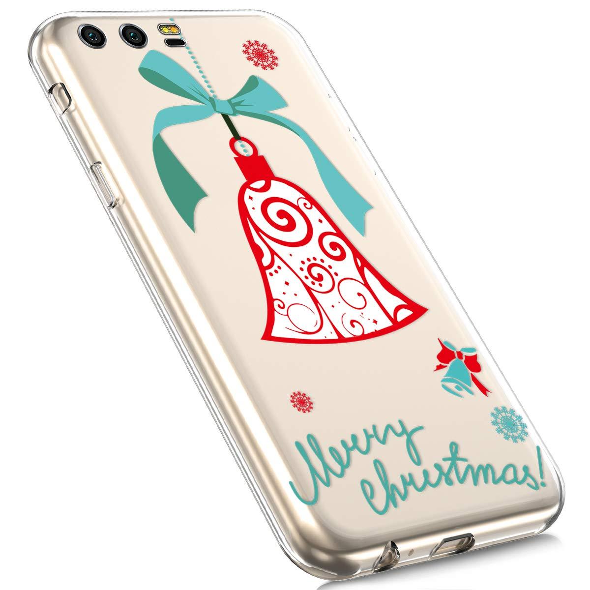 MoreChioce Coque Huawei Honor 10,Coque Huawei Honor 10 Transparente, Transaprent Silicone Cerf Noël Neige Christmas Souple Anti-rayures Flexible Bumper pour Huawei Honor 10 Ampoule Noël