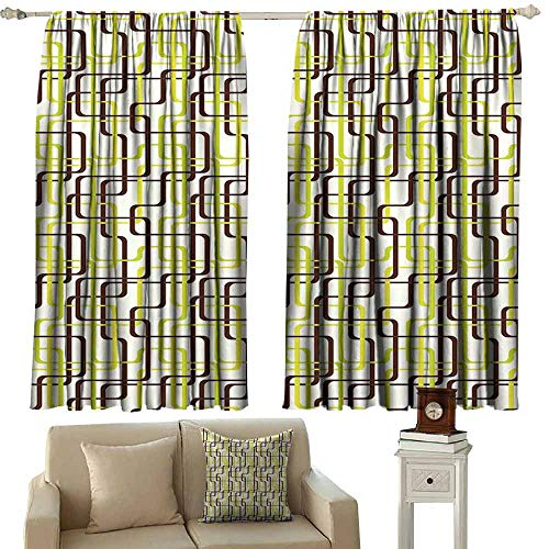 (Decor Curtains Geometric Sixties Fashion Inspired Intertwined Lines Stylish Shapes Tie Up Window Drapes Living Room W63 xL45 Chestnut Brown Apple Green Cream)