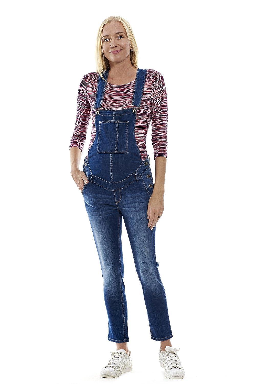 MOTHERWAY Damen Umstandshose Latzhose Jeans Baumwolle Schwangerschaft Trägerhose