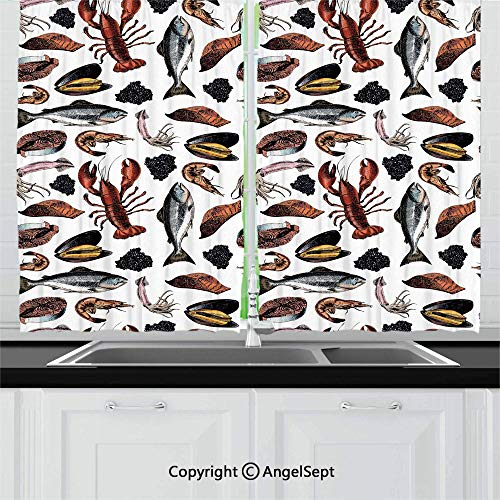 Blackout Window Curtains and Drapes for Kitchen,Vintage Delicious Seafood Elements as Squid Salmon Caviar Fillet Shrimp and Oyster,Home Decoration Curtain Set for Café, Bath, Laundry, Bedroom Rod