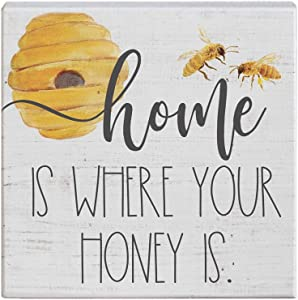 "Simply Said, INC Small Talk Sign 5.25"" Wood Block Plaque STS1295 - Home is Where Your Honey is"