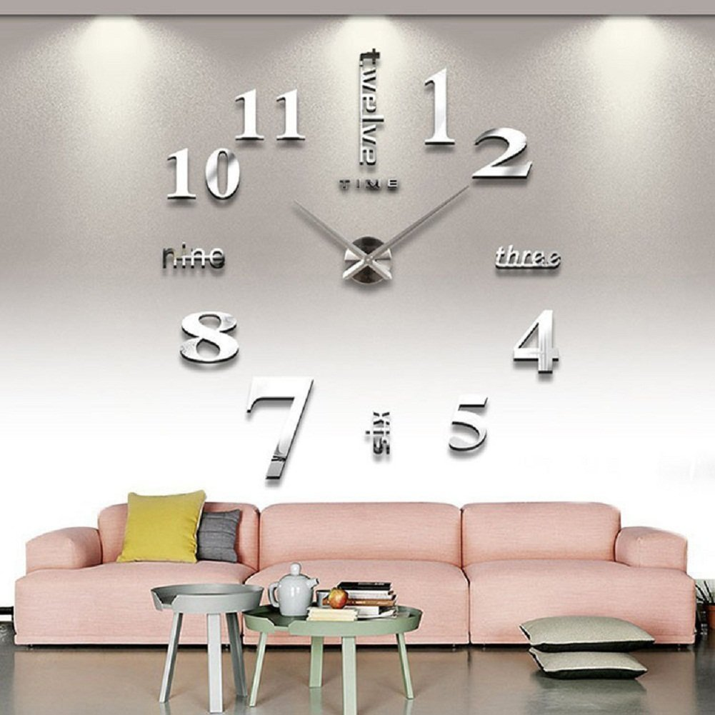 Amazon cozroom large silver 3d frameless wall clock stickers amazon cozroom large silver 3d frameless wall clock stickers diy wall decoration for living room bedroom home kitchen amipublicfo Image collections