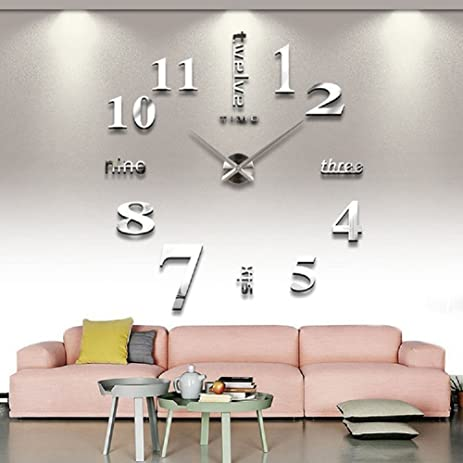 CoZroom Large Silver 3D Frameless Wall Clock Stickers DIY Decoration For Living Room Bedroom