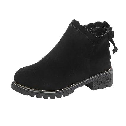XINANTIME - Botas cortas de mariposa de mujer Botines Zapatos de cuña bajos de moda (