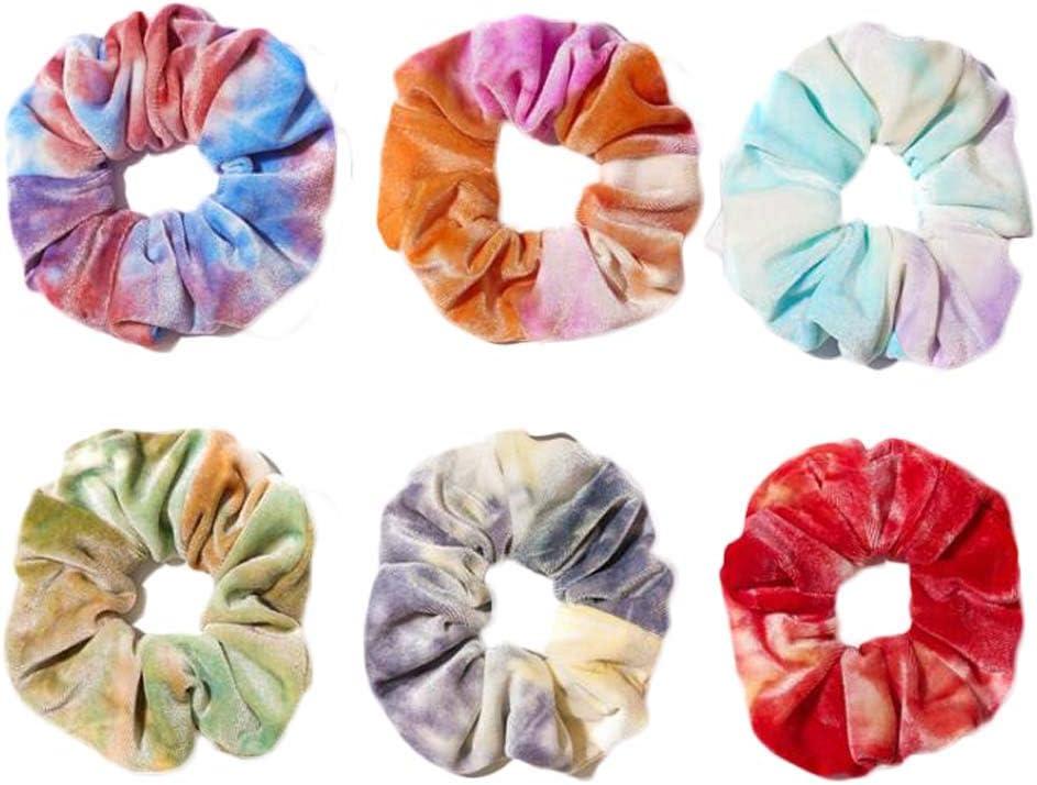 6 piezas de colores para el pelo con teñido anudado, banda para el pelo de terciopelo de invierno, soporte para cola de caballo, lazos elásticos